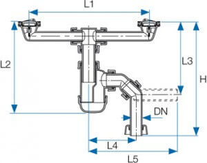 Bottle Trap 2 With Connections For Double Sinks With Central Screw Huliot Advanced Flow Systems